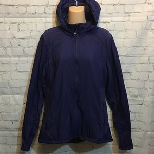 Blue Active Jacket with hood lightweight large